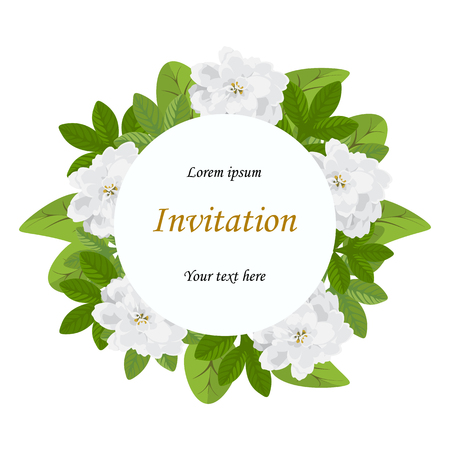 Wedding invitation, greeting birthday.Floral design invitation card,green leaves potentilla,small blooming flowers white Achillea ptarmica.Circle frame,space for text.Vector isolated, white background