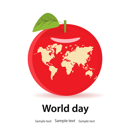 World health day, earth, concept.In red,fresh Apple with a leaf, carved planet Earth with continents.Lets save the planet and health.Design element.Isolated.Copy text.Vector illustration.Flat style Illustration