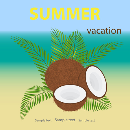 Travel, vector illustration of summer vacation, festival. Unbroken and opened a coconut lying on the palm branches.