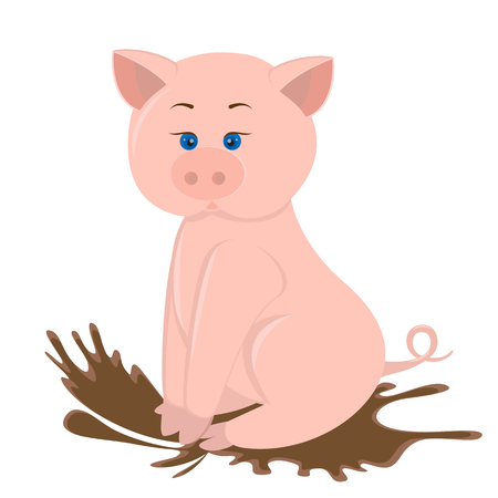 cute pink plump little pig sitting in a brown puddle of mud.Surprised blue eyes.The splash of liquid mud flying in different directions.Vector illustration, isolated, white background.Year of pig