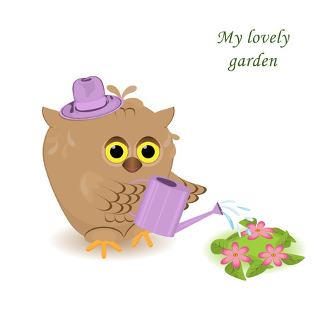 cute cartoon owl in the purple hat.Bird watering flowers with water from a watering can.