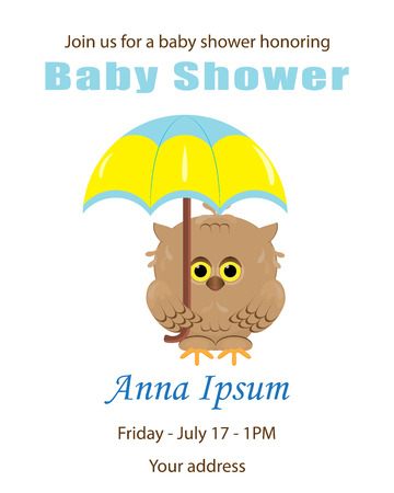 Invitation template, baby shower card. Arrival card with place for your text.Cute little owl holding in its paws colorful yellow blue umbrella.Isolated.White background.