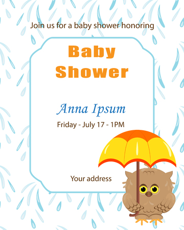 Invitation template, baby shower card. Arrival card with place for your text.Cute little owl holding in its paws colorful yellow orange umbrella.White background and blue rain drops