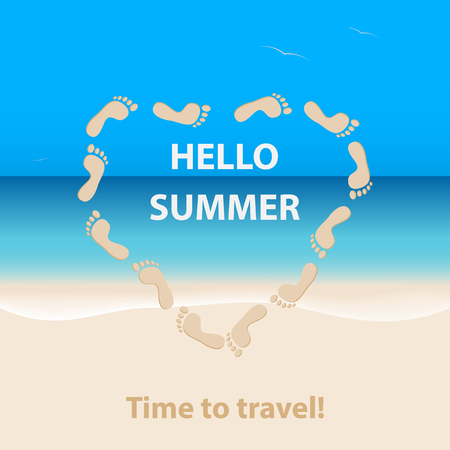 Hello summer, time to travel.Seascape with a sandy beach and wave.Heart made from prints of human footprints.Vector illustration.The concept of travel, adventure.Template for postcard,poster or flyer Illustration