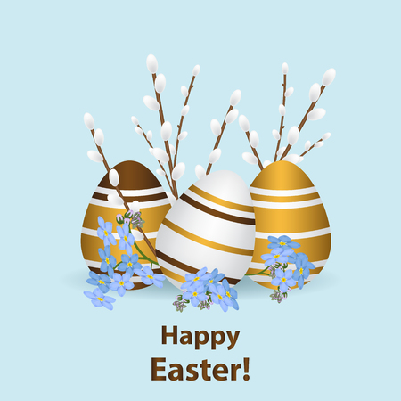 happy Easter greeting card template. Multi-colored realistic eggs with a pattern, traditional willow branches and flowers forget-me-nots.Vector illustration.Light blue background Illustration