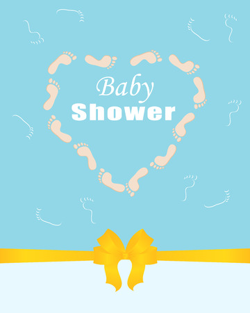 Invitation template, greeting card baby shower, arrival, birth. Blue background with yellow ribbon and bow. The heart is made of children's footprints. Ilustração