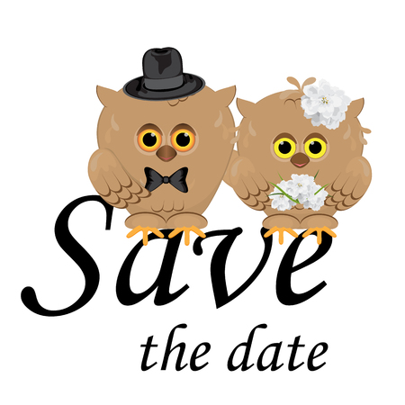 Save the date wedding invitation card template vector illustration, white background, isolated. Cute brown owls groom in hat and bow tie, bride with flower bouquet.