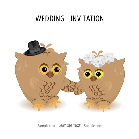 Save the date wedding invitation card template vector illustration, white background, isolated. Cute brown owls groom in hat, bride with flower wreath on the head.