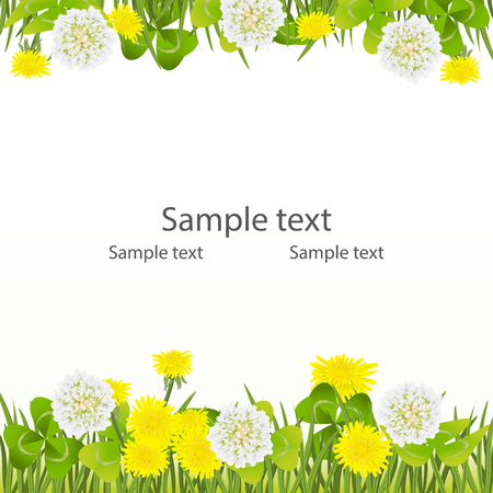 Spring background, Easter, Mother's day birthday, wedding frame with clover, white flowers and yellow dandelions. The border is green grass and shamrock. White background vector illustration. Ilustração