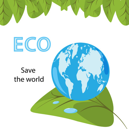 Ecological concept with green leaves and blue planet Earth with continents shaped like water drop. Save the world text on white background, isolated vector illustration, banner template, poster,flyer.