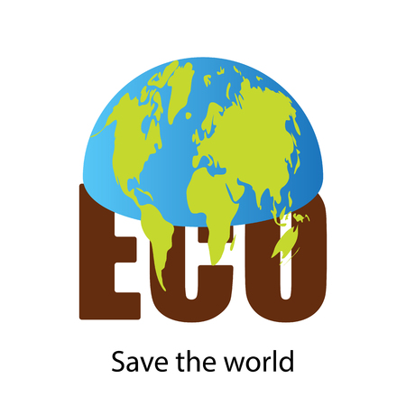 Environmental concept, half the planet earth is on the letters ECO text save the world. Design element, banner vector illustration isolated on white background.