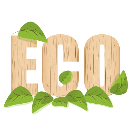 Environmental concept, letters ecology wooden texture with green leaves. Design element, banner vector illustration isolated on white background.