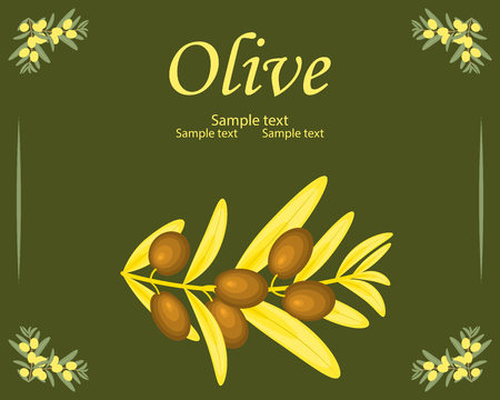 Olive oil label template vector decorative gold and yellow olive branch on the dark green background. For labels, pack isolated, hand drawn vector illustration.