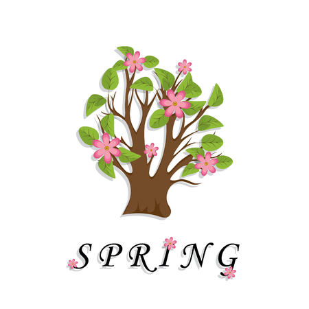 The tree with green foliage and pink flowers is cut out of paper. It is spring. Isolated White background. The element of plant, floral design