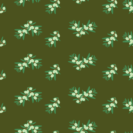 Simple vector seamless pattern of green olives on dark background. Background design for olive oil, natural cosmetics, textiles, wrapping paper isolated. Ilustração
