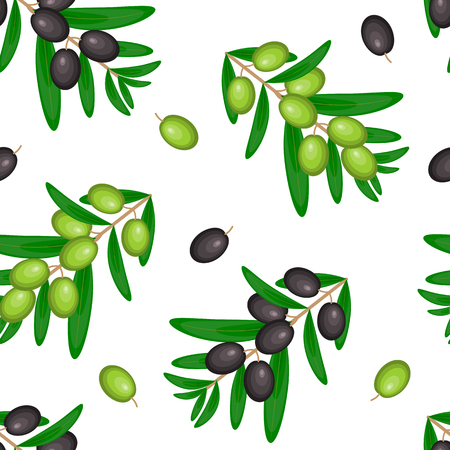 Simple vector seamless pattern with ripe black and green olives on white. White background design for olive oil, natural cosmetics, textile, wrapping paper.
