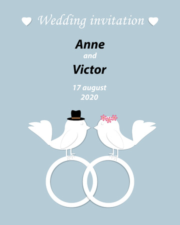 Wedding invitation template with a pair of birds,the bride and groom cut out of paper. Light blue background with rings and hearts on the card.Vector illustration
