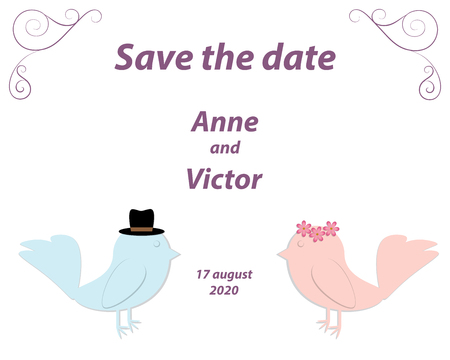 Wedding invitation template with a pair of birds,the bride and groom cut out of paper. White background with monograms in the corners of the card.Vector illustration