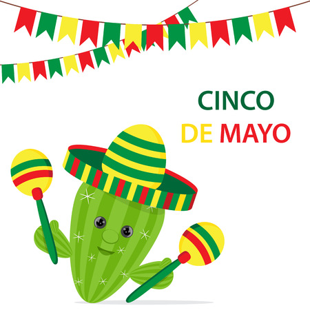 Cinco De Mayo multicolored sombrero, green cactus and maracas festive design.Succulent plant with a funny face.Vector illustration on white isolated background.Cartoon style.Place to copy text Ilustração