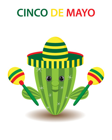 Cinco De Mayo sombrero, cactus and maracas festive design. For celebration of the Mexican holiday on May.Isolated, white background