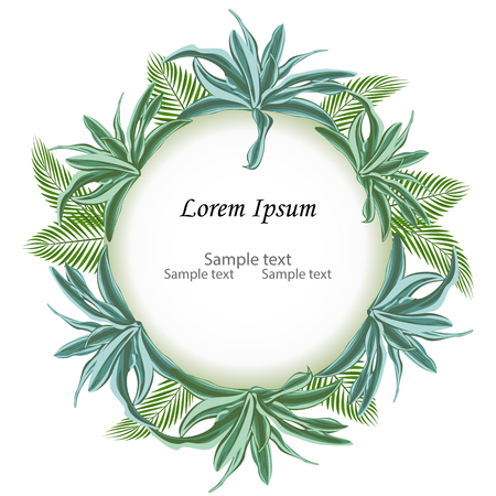 Circle sign with text space of tropical leaves palm branch and dracaena. Suitable for nature concept, vacation, and summer holiday. Vector Illustration