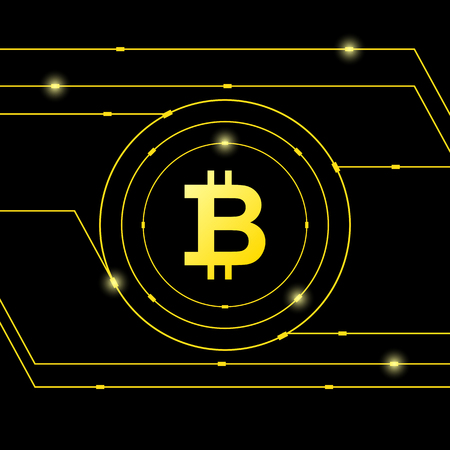 Golden bitcoin digital currency on black background, futuristic digital money, technology worldwide network concept, vector illustration