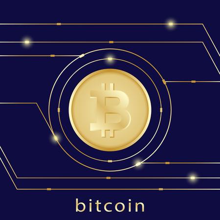 Golden bitcoin digital currency on dark blue background, futuristic digital money, technology worldwide network concept, vector illustration Ilustração