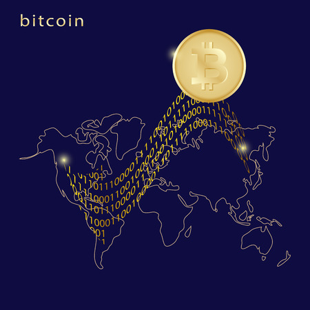 Golden bitcoin digital currency with arrow and world map on dark blue background. Remittance, futuristic digital money, technology worldwide network concept, vector illustration Ilustração