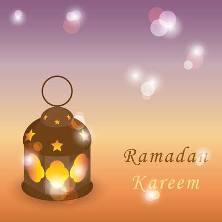 Intricate Arabic lamp with lights on shiny background. Greeting islamic muslim Ramadan holiday background with eid lantern or lamp Ilustração