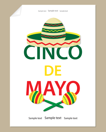 Large letters Cinco de Mayo, colorful sombrero and maracas.The white background of a sheet of paper the poster festive design. Ilustração