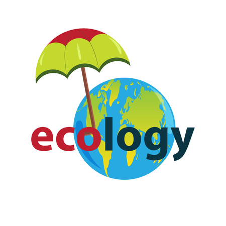 Planet Earth with continents under the protection of a colorful umbrella.Isolated, white background.Text ecology.Design element, banner, logo Ilustração