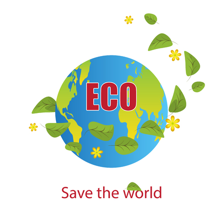 Planet Earth with flying around her green leaves and yellow flowers.Text save the world.Design element, banner, logo.Isolated on white background.Ecology concept