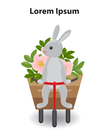rabbit sitting on a tricycle with a cart. The character carries a bouquet of pink flowers and leaves. White background, isolated. Postcard design element, Easter poster,birth, baby shower invitation.