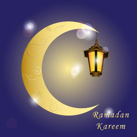 Ramadan Kareem greeting card glow gold arabic lantern and islamic crescent. Lights and bokeh on shiny background. Greeting islamic muslim Ramadan holiday background