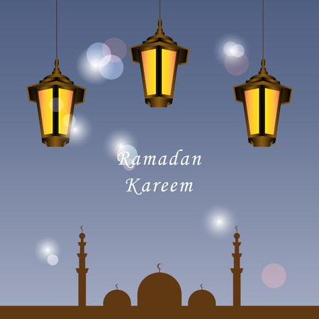 Ramadan Kareem greeting card with mosque, glow gold arabic lantern. Lights and bokeh on blue background. Greeting islamic muslim Ramadan holiday background