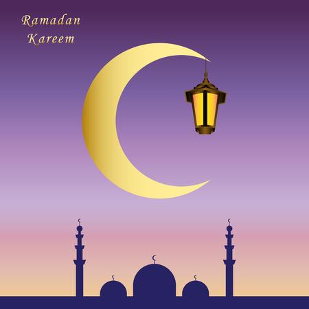 Ramadan Kareem greeting card with mosque, glow gold arabic lanternand moon. Lights sky pink blue background. Greeting islamic muslim Ramadan holiday background