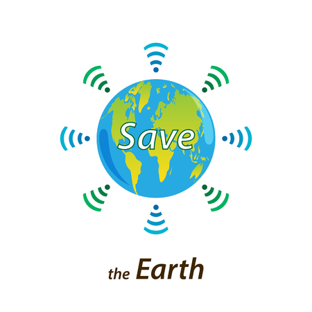Planet Earth sends a signal for help through wi-fi. Text Save the Earth. Design element, banner, logo.Isolated on white background.Ecology concept