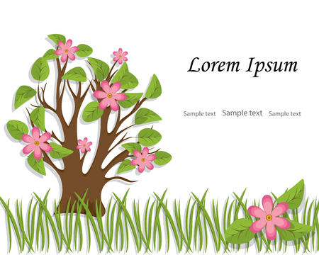 The tree with foliage and pink flowers is cut out of paper.Spring, summer background with place for copy text.White background with border of green grass.Vector illustration Ilustração