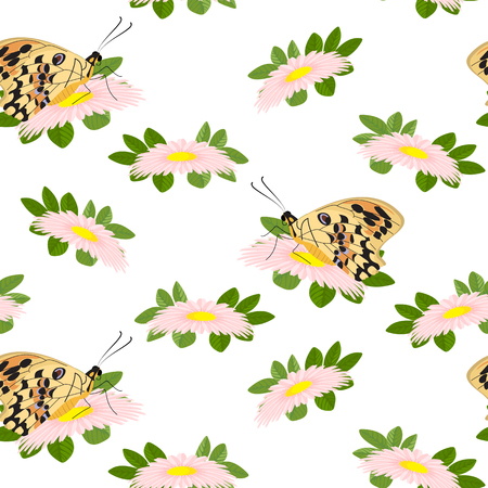 Trendy floral pattern of pink flowers, green leaves and butterflies.Outline botanical elements scattered random.Seamless vector texture for fashion prints.Abstract hand drawn style on white background