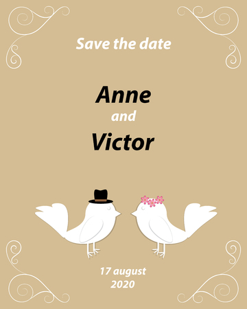 Wedding invitation template with a pair of birds,the bride and groom cut out of paper. Light brown background with monograms in the corners of the card.Vector illustration