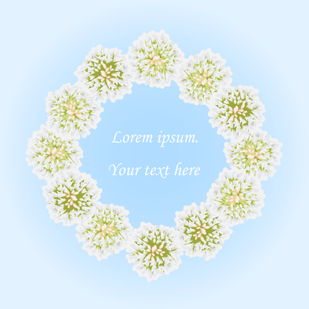 Floral wreath with white flowers clover. Vector greeting card, romantic wedding invitation, spring sale. Decorative floral frame. Place for text. Isolated. Blue background