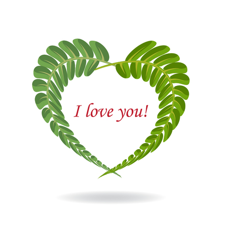 Frame of green branch forest fern leaves in the shape of a heart. Plant wreath, foliage frame. I love you. Design element for Valentine's, Mother's Day, wedding invitation. Vector. White isolated