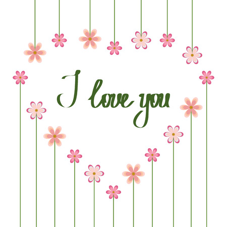 Frame of pink flowers in the shape of a heart. I love you. Design element for Valentine's, Mother's Day, wedding invitation. Vector illustration. White isolated background