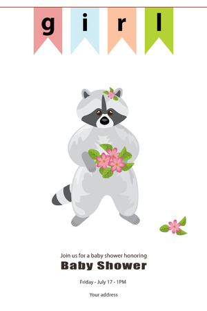 Baby girl shower card. Arrival card with place for your text.Grey raccoon stands with a bouquet of pink flowers in its paws. At the top there is a banner colorful flags. It`s a girl. Isolated