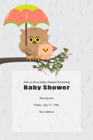 Baby shower invitation card. It is a girl, arrival. Cute owl mom and daughter are sitting on a tree branch. Mom is holding an umbrella. Background of falling rain drops. Vector Ilustração
