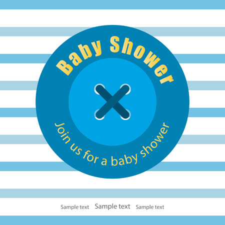 Baby shower invitation card, baby boy arrival. Large blue button sewn threads on striped clothing. Space for your text. White background. Vector