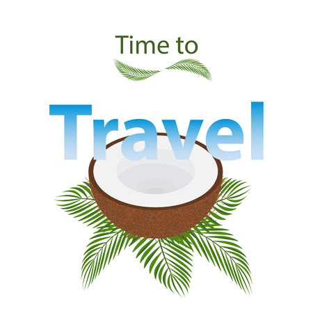 Time to travel of summer vacation, festival.Opened a coconut lies on the tropical green leaves.The concept of travel,adventure.Template for poster or flyer.Place for text isolated on white background