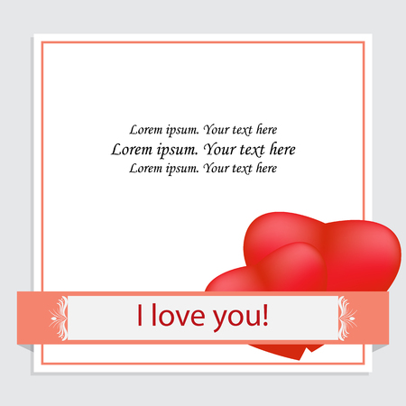 Greeting card template, Valentine's day invitation, wedding. Two red hearts on white background and frame decorated with patterned ribbon with text I love you. Free space for your text.Vector,isolated