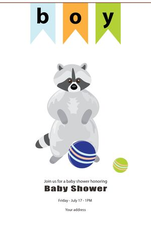 Baby boy shower card. Arrival card with place for your text. Grey raccoon stands on its hind legs. At the top there is a banner of colorful flags. At the bottom are balls of blue and green. Isolated
