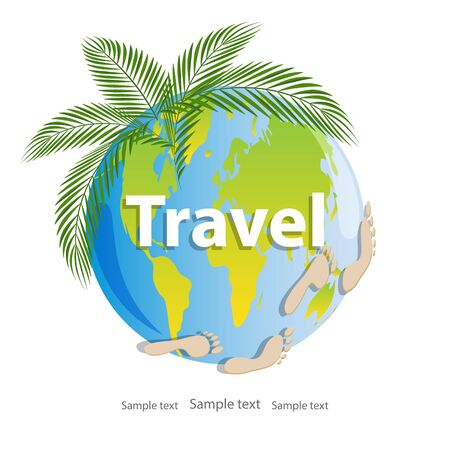 Summer, time to travel. Planet Earth with tropical green leaves and  prints of human footprints